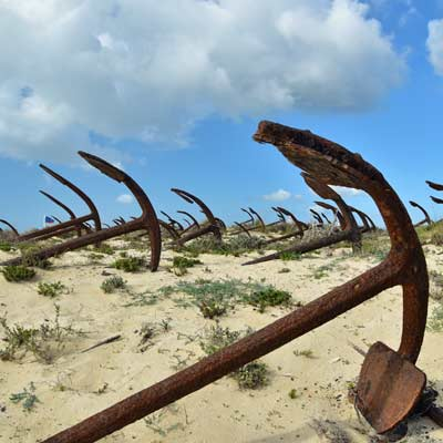 Cemetery of Anchors on the Praia do Barril Beach